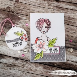 Carte florale MAMAN rose &...