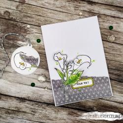 Carte florale arums blanc &...
