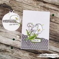 Carte florale arums blanc &...